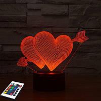 3D светильник с пультом и аккумулятором 3D Lamp Сердца (LP-2730), фото 1