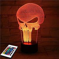 3D светильник с пультом и аккумулятором 3D Lamp Каратель (LP-2689), фото 1