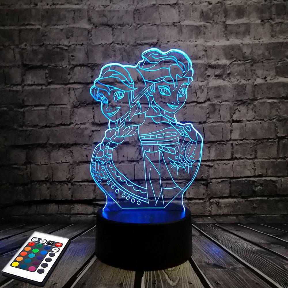3D светильник с пультом 3D Lamp Холодное сердце (LP-2673)