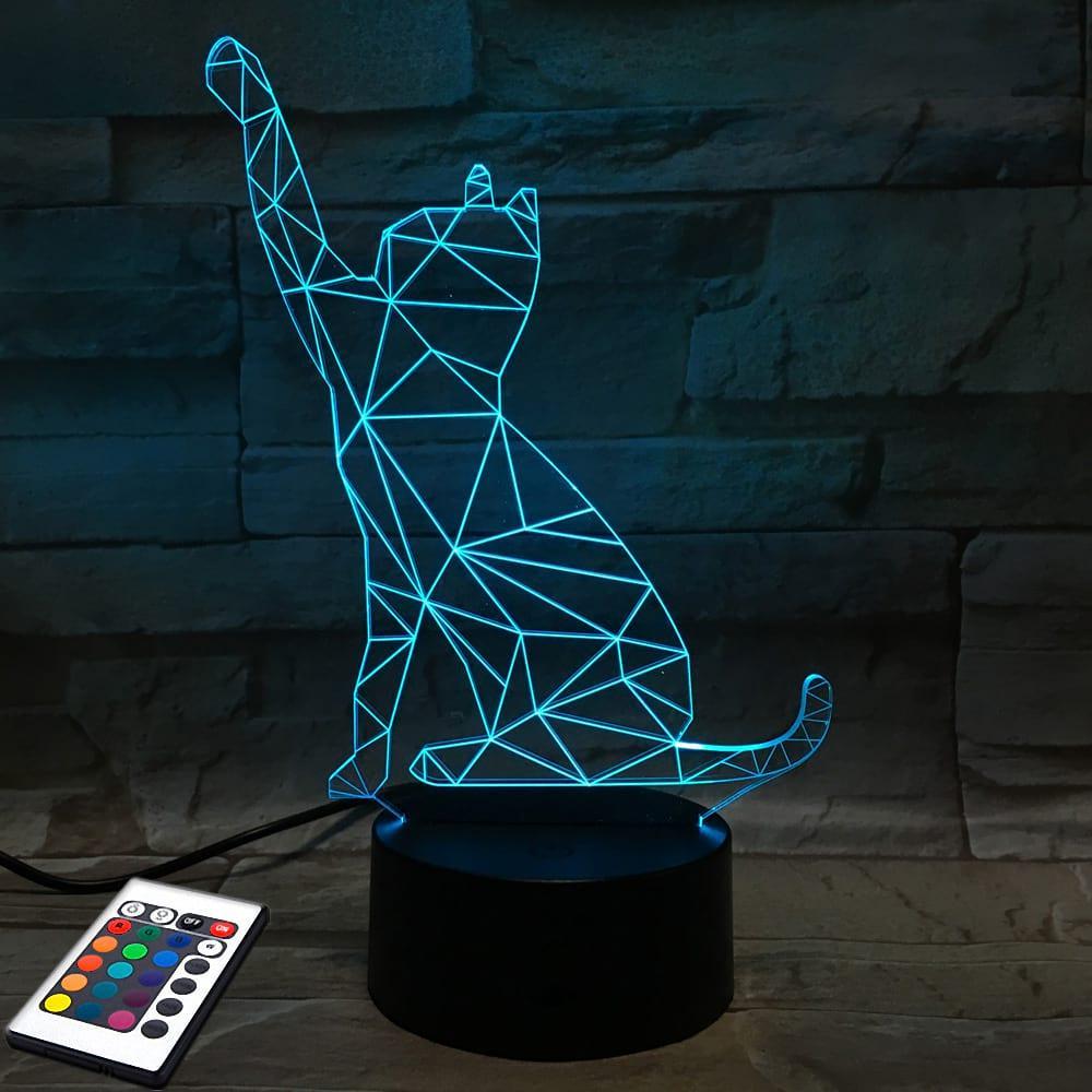 3D светильник с пультом 3D Lamp Кот 2 (LP-2657)