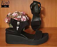 Женские модные стильные босоножки на танкетке , натуральная замша , черные