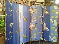 "Ширма из бамбука 170х200см ""Бабочки""синяя"