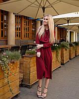 Стильное классическое платье, миди, за колено, рукав креп-полоска на манжете, (40-46рр), фото 1