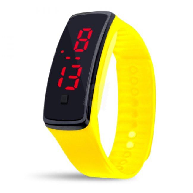 Электронные наручные часы LTL Led на силиконовом браслете yellow