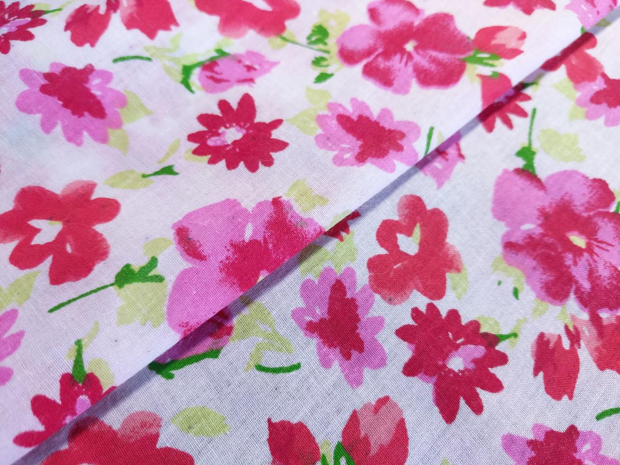 Коттон рисунок лето цветы, красные на белом