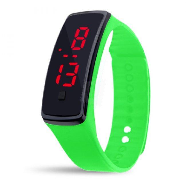 Электронные наручные часы LTL Led на силиконовом браслете fluor green
