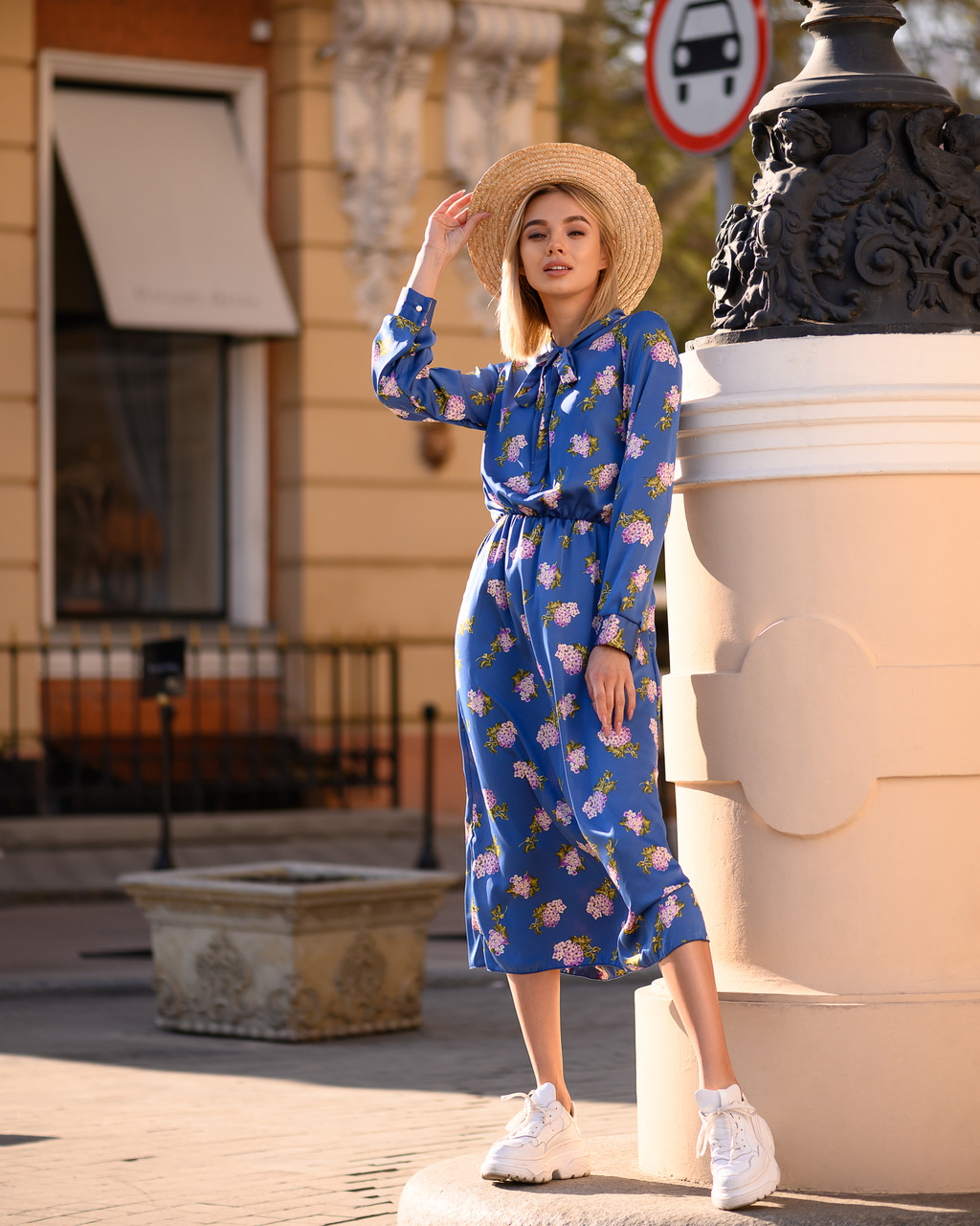 Стильное классическое платье принт из шелка Армани
