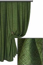 Портьерная ткань лён, цвет зеленый