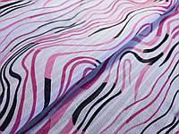 Коттон рисунок волны, розовый на белом