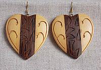 """Серьги деревянные """"Сердце"""" в этническом стиле"""