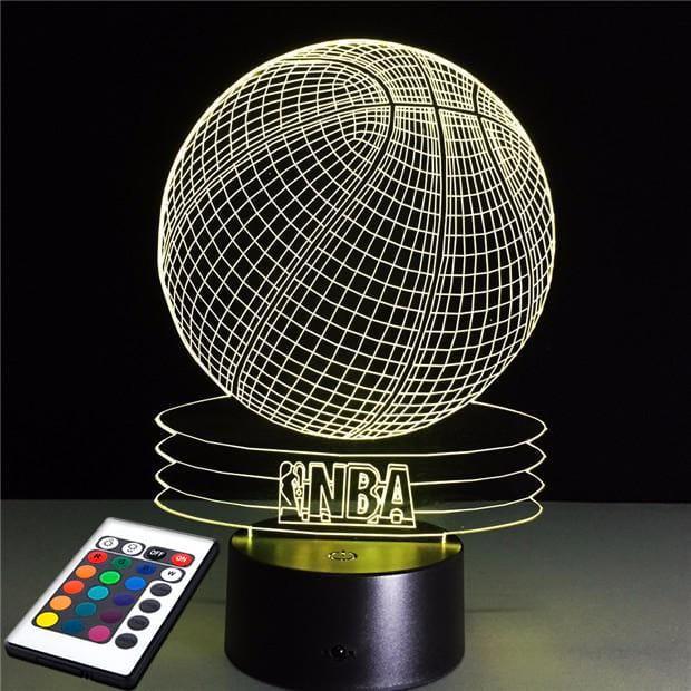 3D светильник с пультом и аккумулятором 3D Lamp Баскетбольный мяч NBA (LP-2604)