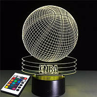 3D светильник с пультом и аккумулятором 3D Lamp Баскетбольный мяч NBA (LP-2604), фото 1