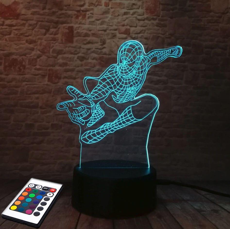 3D светильник с пультом и аккумулятором 3D Lamp Человек паук (LP-2574)