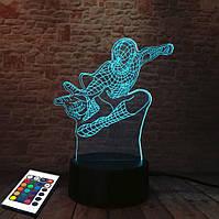 3D светильник с пультом и аккумулятором 3D Lamp Человек паук (LP-2574), фото 1