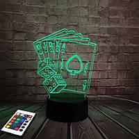 3D светильник с пультом и аккумулятором 3D Lamp Флеш рояль (LP-2528), фото 1