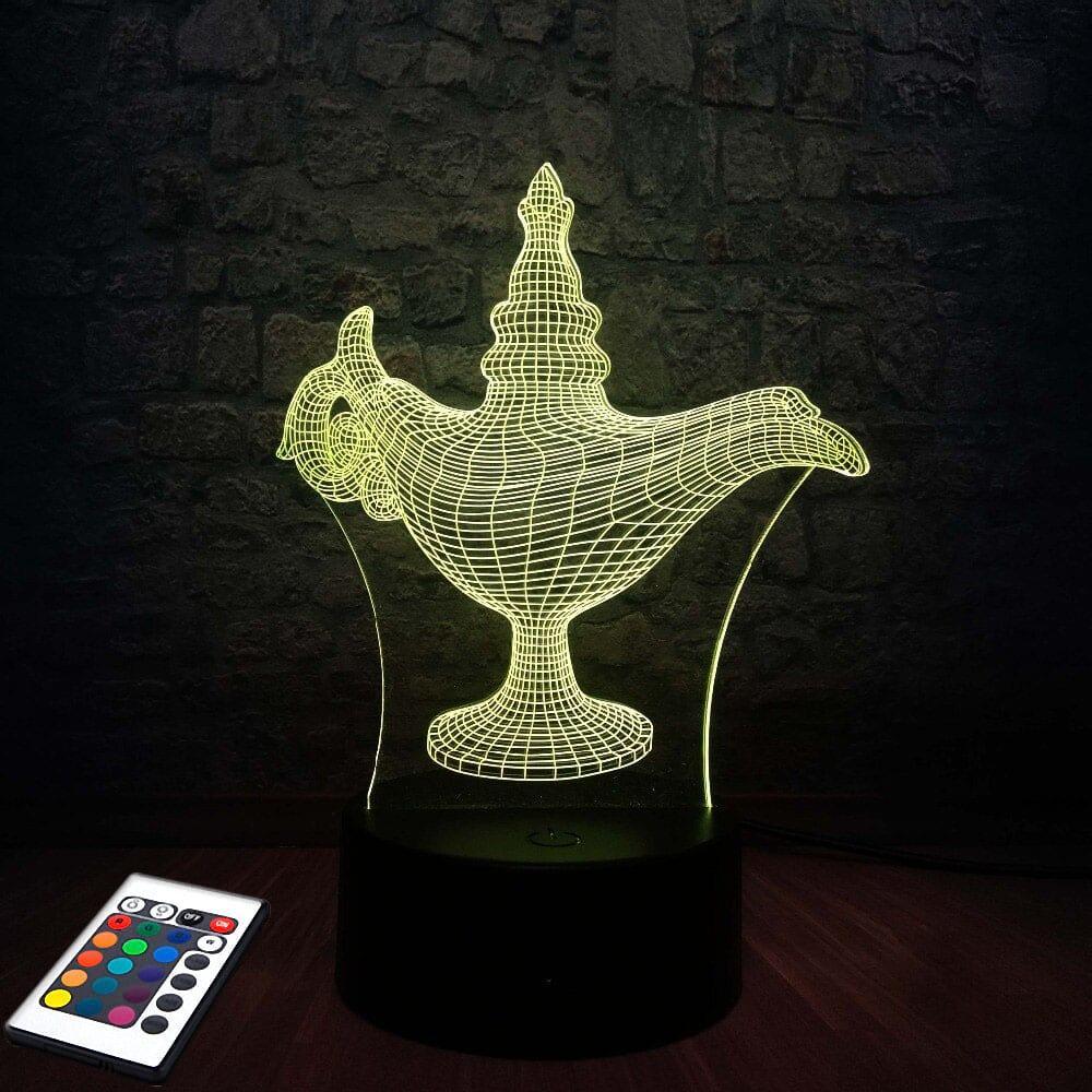3D светильник с пультом и аккумулятором 3D Lamp Лампа Алладина (LP-2513)