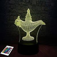 3D светильник с пультом и аккумулятором 3D Lamp Лампа Алладина (LP-2513), фото 1