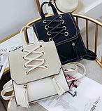 Рюкзак-сумка жіночий зі шнурівкою, фото 7
