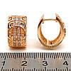 Серьги Xuping, размер 18х15 мм, белые фианиты (куб. цирконий), позолота 18K, ХР00125 (1), фото 2