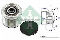 Шкив генератора VAG 021 903 119 L 3.2 - 3.6 FSI 02- (производство Ina) (арт. 535 0083 10), AFHZX