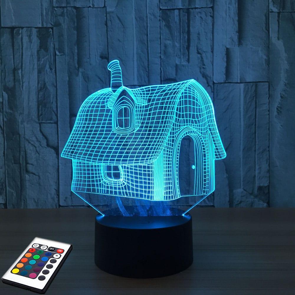 3D светильник с пультом и аккумулятором 3D Lamp Сказочный домик (LP-2479)