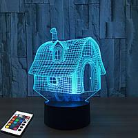 3D светильник с пультом и аккумулятором 3D Lamp Сказочный домик (LP-2479), фото 1