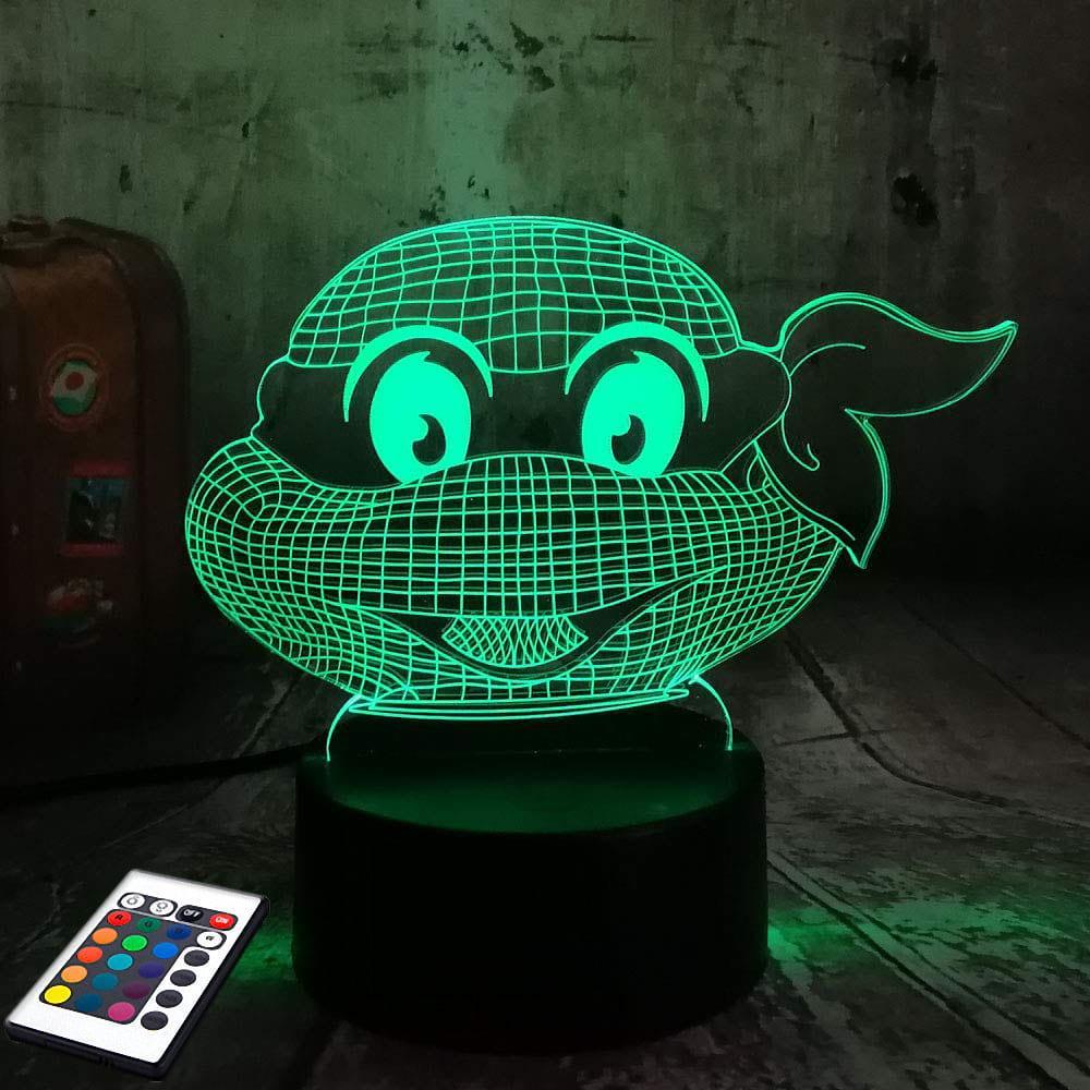 3D светильник с пультом и аккумулятором 3D Lamp Черепашка ниндзя (LP-2457)
