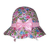Панамка для девочки  с цветами с бантом
