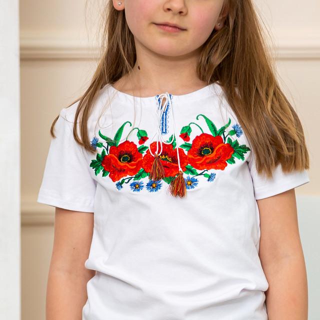 Трикотажная футболка вышиванка для девочки Маки