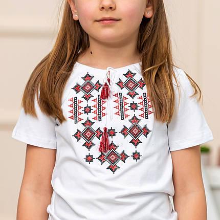 Трикотажная футболка вышиванка для девочки Орнамент красный, фото 2
