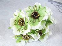 Декоративные цветы (маки) 60 шт/уп. оптом диаметр 5 см,  молочно-зеленого