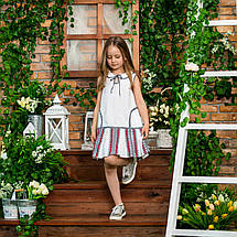 Белый сарафан для девочки с вышивкой Школьница, фото 2