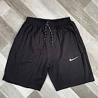 Шорты мужские хлопок полубаталы Nike, размеры 54-62, чёрные, 05634