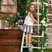 Белый сарафан для девочки с вышивкой Школьница, фото 3