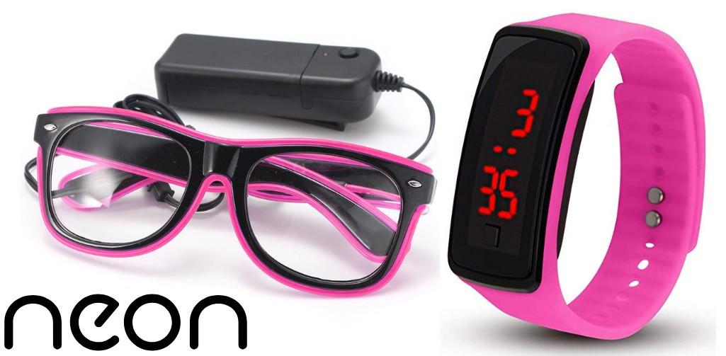 Очки NEON  прозрачные El Neon pink + Часы