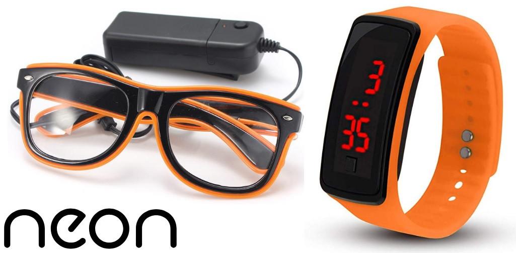Очки NEON  прозрачные El Neon orange + Часы