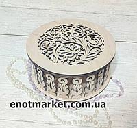 Шкатулка, органайзер, конфетница деревянная круглая резная , фото 1