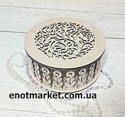 Шкатулка, органайзер, конфетница деревянная круглая резная
