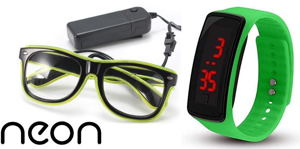 Очки NEON  прозрачные El Neon fluorescent + Часы