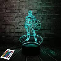 3D светильник с пультом и аккумулятором 3D Lamp Капитан Америка (LP-2840), фото 1
