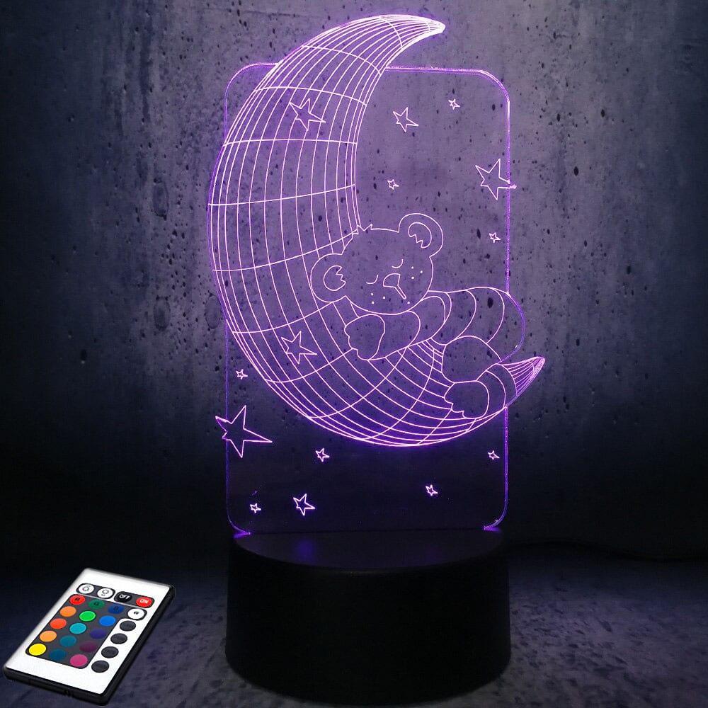 3D светильник с пультом и аккумулятором 3D Lamp Мишка на луне (LP-2824)