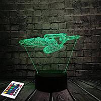 3D светильник с пультом и аккумулятором 3D Lamp Стартрек (LP-2808), фото 1