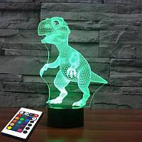 3D светильник с пультом и аккумулятором 3D Lamp Динозавр (LP-2786), фото 1