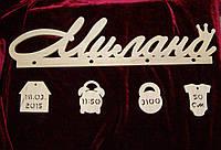 Имя Милана с бирками (вес, рост, дата и время)