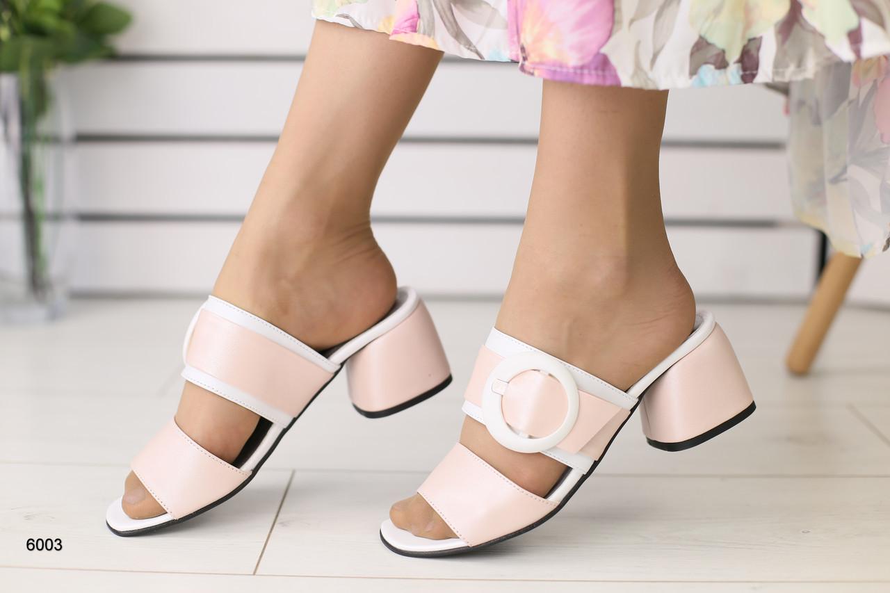 9babe878d Женские шлепанцы на каблуке, пудра с белым, кожаные: продажа, цена в ...