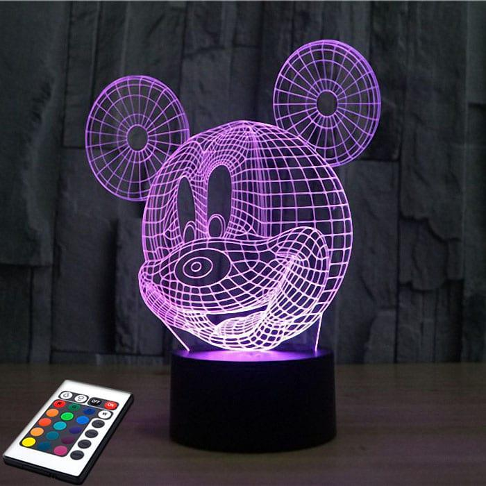3D светильник с пультом 3D Lamp Микки Маус (LP-2754)