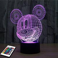 3D светильник с пультом 3D Lamp Микки Маус (LP-2754), фото 1