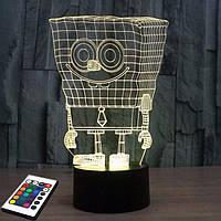 3D светильник с пультом и аккумулятором 3D Lamp Губка Боб (LP-2746), фото 1