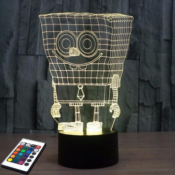3D светильник с пультом 3D Lamp Губка Боб (LP-2746), фото 1