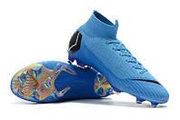 Футбольные бутсы Nike Mercurial Superfly VI 360 Elite FG Royal Blue/Black/Metallic Silver, фото 1